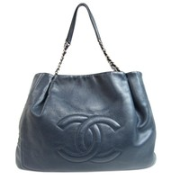 CHANEL CC Chain Shoulderbag Totebag Caviar Skin Leather Navy Blue