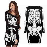 Hiphop WomenLadies Halloween Bones Black Dress Bodycon Skeleton Skull Punk Dress Midi Dress
