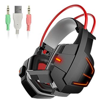 Aipal Gaming headphones for computer Wired Deep Stereo Bass noise canceling  USB 3.5mm Headset  AUX Gamer with Microphone LED