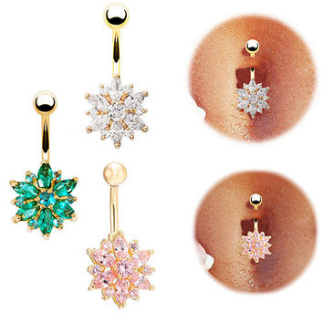 2015 Belly Button Ring Women Flower Cubic Zirconia Navel Bar Barbell Body Piercing Jewelry For 3 Colors