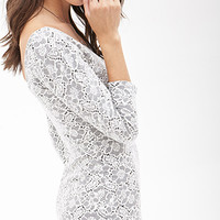 FOREVER 21 Lace Pattern Bodycon Dress Black/Cream