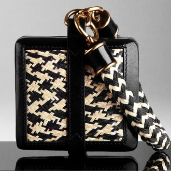 $1,195 Burberry Prorsum Women Straw Wristlet Clutch Purse Hand Bag Leather Lady