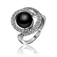 18K White Gold Plated Swarovski Elements Crystal Big Black Pearl Ring, Size 8