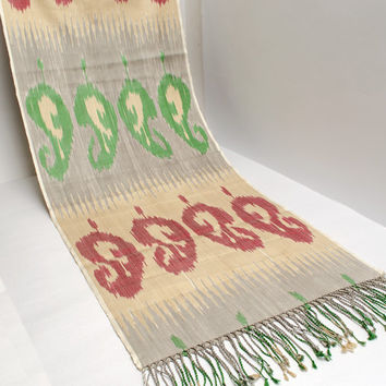 ikat women scarf, table runner, hand dyed, cream green red ikat scarf, shawl, écharpe, Schal, bufanda, accessories