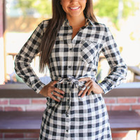 Espresso Morning Buffalo Check Dress - Black and Ivory