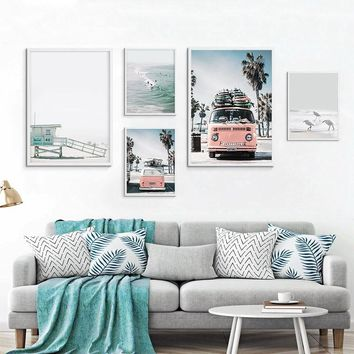 Nordic Tropical Landscape Posters Modern Prints Sea Beach Bus Wall Art Canvas Painting Home Decoration Wall Art Pictures