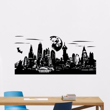 Batman Dark Knight gift Christmas Gotham Skyline Wall Decal Vinyl Batman Superhero Comics Wall Sticker Home Art Decor Skyline Design Vinyl Wall Murals AY0188 AT_71_6