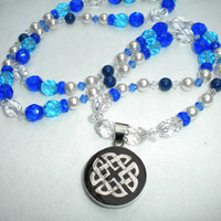 The River Spirit Blue Light Turquoise Clear Womans Celtic Necklace