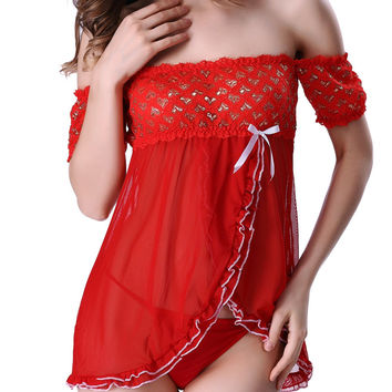 Alluring T-Back and Surplice Off The Shoulder Hearts Lace Sheer Babydoll