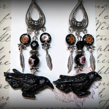 Goth Earrings, Crows, Millefiori Beads, Handmade Gothic Earrings