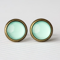 Mini Minty Green Bronze Earrings by arainyafternoon on Etsy