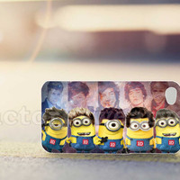 minion one direction on galaxy nebula - for iPhone 4/4s, iPhone 5/5s/5c, Samsung S3 i9300, Samsung S4 i9500 *factorysweatyes*