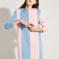 Stripe Wool Dress Pink and Blue