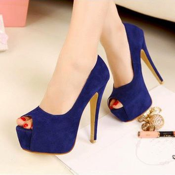 New Women Korea Open Peep Toe Seude High Heels Platform Shoes Stiletto Sexy 1nf