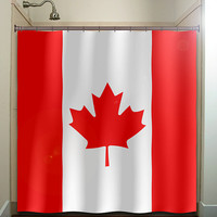 red maple leaf Canada flag shower curtain bathroom decor fabric kids bath white black custom color curtains