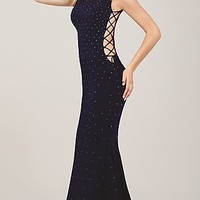 Long High Neck Beaded Jovani Dress with Tie Up Sides