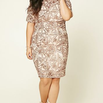 Plus Size Sequined Mini Dress