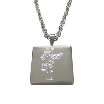 Silver Toned Etched Giraffe Head Pendant Necklace