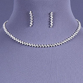 Womens Jewelry, Silvertone Necklace with Rhinestone Set. Earrings About 1 in L. Extender 3 in L. Length: 16 Inches.