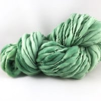 U.S. Raised Targhee Wool, Handspun Thick and Thin Super Bulky Yarn, Sage