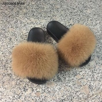 Real Fox Fur Slipper Women Fashion Spring Autumn Slide Indoor Outdoor Flat 96018