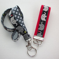 Elephants Lanyard and Key fob Keychain Set - gray dots red