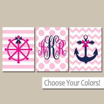 Girl Nautical Nursery Art, Baby Girl Nautical Nursery Decor, NAUTICAL Monogram, Wall Art, CANVAS or Prints, Bow Anchor Wheel, Set of 3