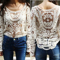 Beige lace shirt with long sleeves