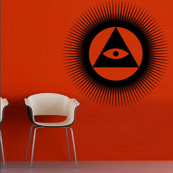 Wall decal decor decals art sticker all seeing eye annuit coeptis illuminati god triangle circle (m767)