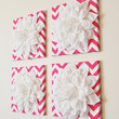"""Wall Decor -SET OF FOUR White Dahlias on Hot Pink and White Chevron 12 x12"""" Canvases Wall Art- 3D Felt Flower"""