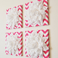 "Wall Decor -SET OF FOUR White Dahlias on Hot Pink and White Chevron 12 x12"" Canvases Wall Art- 3D Felt Flower"