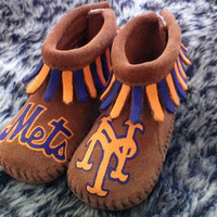 Custom Hand Painted NY Mets Baby Moccasins