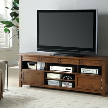 "Dara collection contemporary style tobacco oak finish wood 66"" tv console media stand"