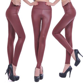 Sexy Womens Faux Leather Look High Waist Pants Tights Size S - wine Red
