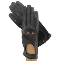 Women's Driving Gloves Black Italian Leather.  Unlined