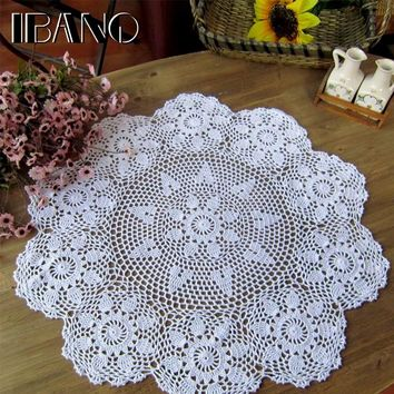 Handmade Crochet Coasters Cotton Lace Cup Mat Placemat 60/70/ 80/ 90 CM RD Shabby Chic 4 Sizes Vintage Crocheted Tablecloth