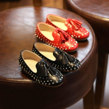 Summer Korean Tassels Stylish Rhinestone Princess Rivet Shoes [4919305220]