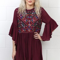 Full of Joy Floral Embroidery Dress {Maroon}