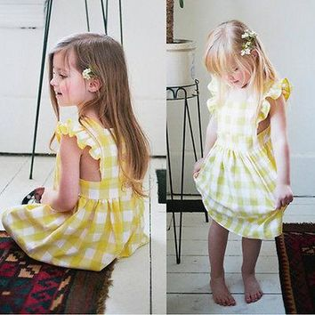 Pudcoco Cute Toddler Kids Baby Girl Dress Princess Party Dresses Summer Plaid Ruffles Sundress 1-6Y