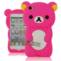 Hot Pink 3D Cute Bear Rubber Back Case Cover Skin for Apple ipod touch 5 5Gen
