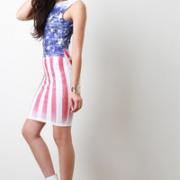 American Flag Bodycon Dress Color: American Flag, Size: L