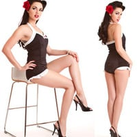 Classic Retro Black Swimsuit - Angry, Young and Poor