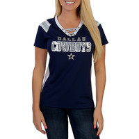Dallas Cowboys Lace Up Jersey Top | Short Sleeve | Tops | Womens | Cowboys Catalog | Dallas Cowboys Pro Shop