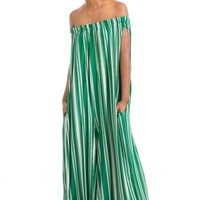 Green Stripe Off Shoulder Jumpsuit