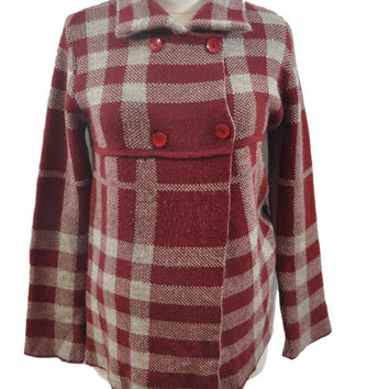 Red Plaid Sweater by Ebrus Maternity