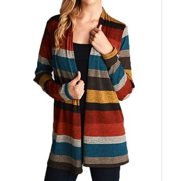 Striped Sweater Knit Cardigan With Suede Elbow Patch