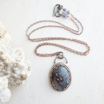 Sterling silver Montana moss agate pendant neckalce, oxidized, iolite gemstones, white & spotted black inclusions, 14k gold fill, jewelry