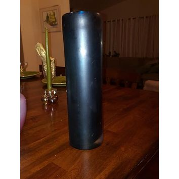 Tall Frosted Blue Cylinder Vase