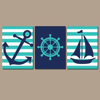 Nautical Wall Art Nursery Bathroom Canvas Navy Blue Yellow Prepp