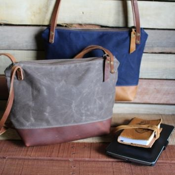 Waxed Canvas with Leather Bottom - Small